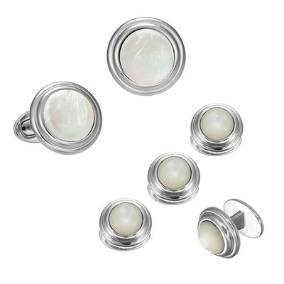 Mother of Pearl Tuxedo Cufflinks and Studs with Thick Sterling Silver Border by Jan Leslie