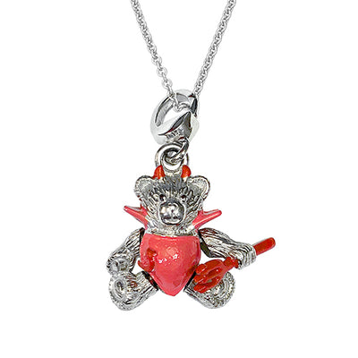 Moving Teddy Bear Devil Sterling Silver Pendant Necklace Sale Only Jan Leslie Jan Leslie