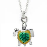 Green Enamel Turtle Charm Necklace by Jan Leslie