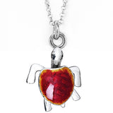 Red Enamel Turtle Charm Necklace by Jan Leslie