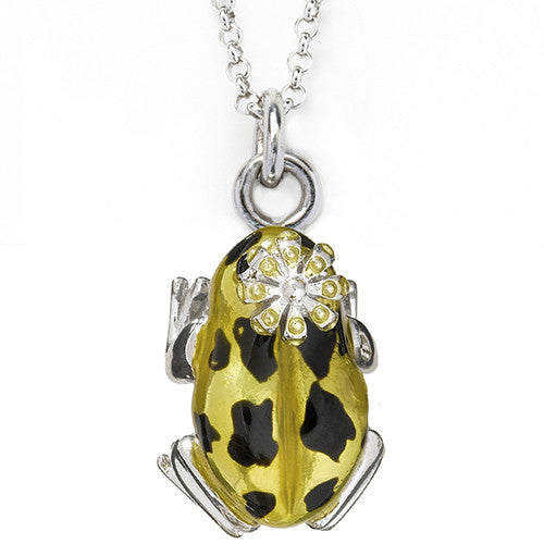 Yellow  Frog Prince Charm Pendant by Jan Leslie