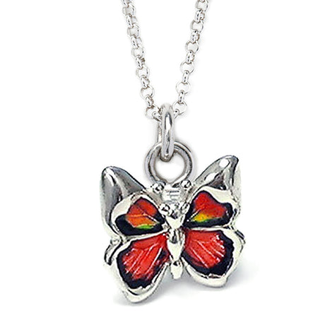 Red Butterfly Sterling Silver Charm Pendant Necklace