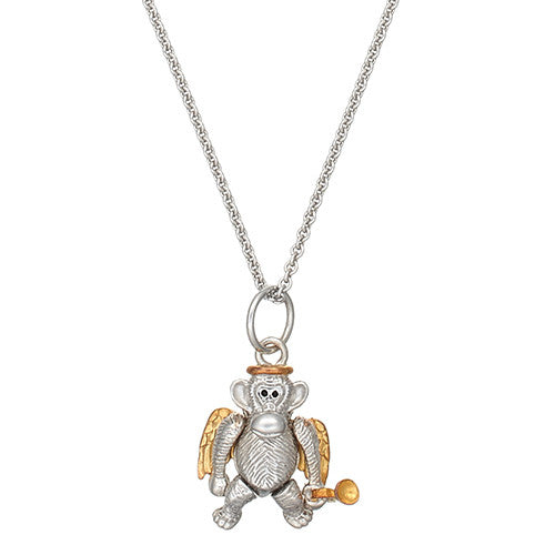 Two Tone Angel Monkey Charm Necklace by Jan Leslie