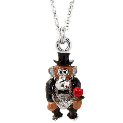 Monkey and Rose Charm Necklace - Jan Leslie Cufflinks and Accessories