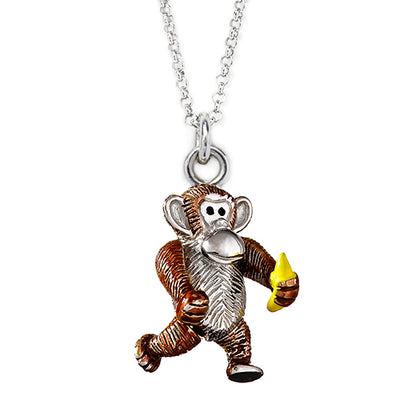 Monkey and Banana Charm Necklace - Jan Leslie Cufflinks and Accessories