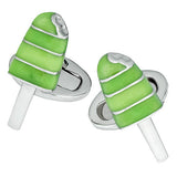 Green Enamel Summer Popsicle Cufflinks by Jan Leslie