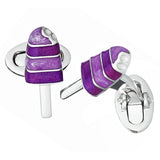 Purple Enamel Summer Popsicle Cufflinks by Jan Leslie