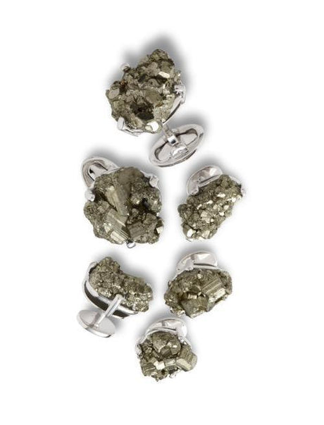 Pyrite Meteor Cufflinks and Stud Set