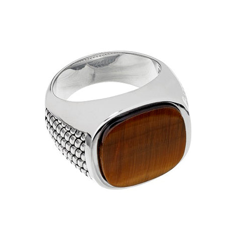 Sterling Silver Cobra Etched Tiger's Eye Ring