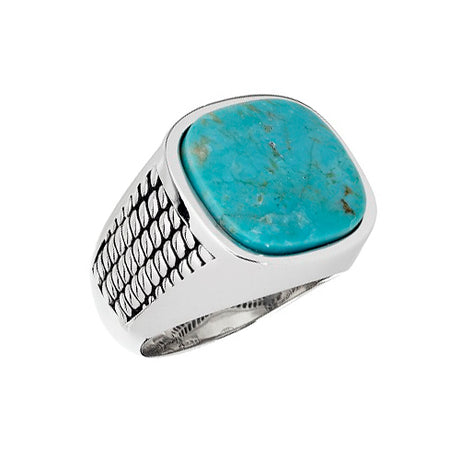 Cobra Etched Turquoise Sterling Silver Ring