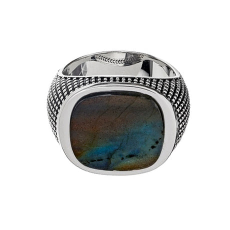 Sterling Silver Cross Etched Labradorite Ring