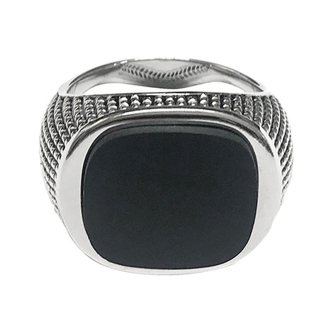 Cross Etched Black Onyx Sterling Silver Ring
