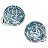 Blue Mother-of-Pearl Gemstone Inlay Rose Button Cufflinks by Jan Leslie