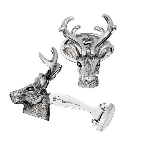 Stags Head Cufflinks in Sterling Silver by Jan Leslie