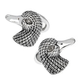 Silver Duck Head Cufflinks by Jan Leslie
