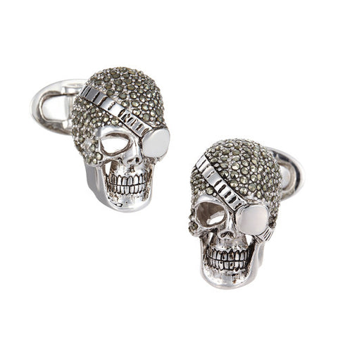 Trojan Skull Cufflinks in Sterling Silver
