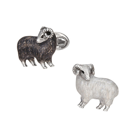 Classic Black and White Sheep Cufflinks - Jan Leslie Cufflinks and Accessories