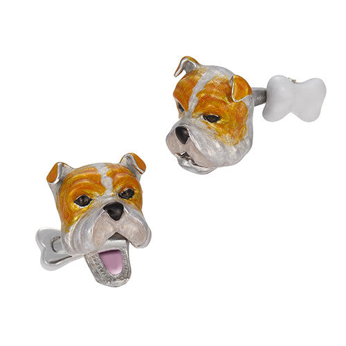 Moving Bulldog Cufflinks with Bone