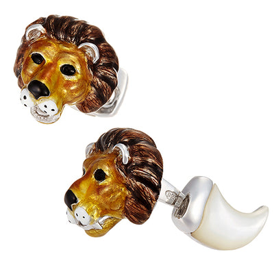 Lion Cufflinks with Mother of Pearl - Jan Leslie Cufflinks and Accessories