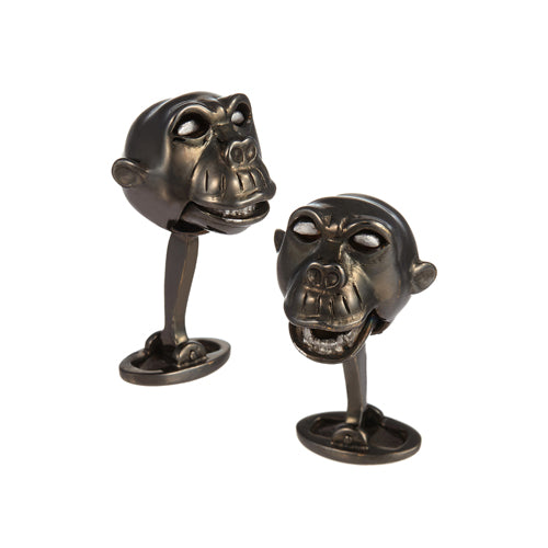 Gunmetal Monkey Sterling Silver Cufflinks