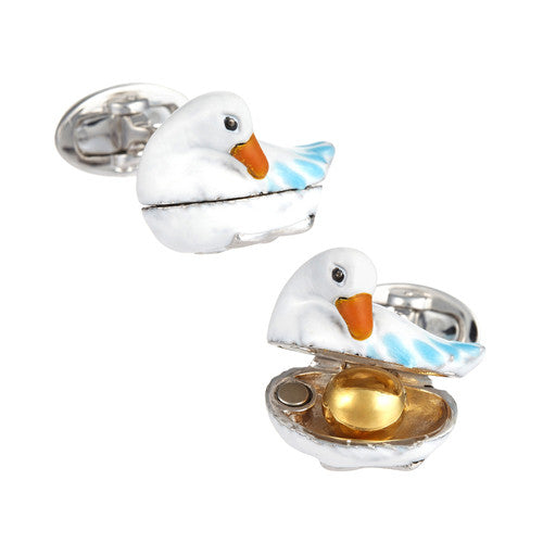 Golden Egg and Goose Cufflinks by Jan Leslie