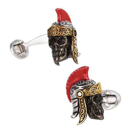 Gladiator Skull Cufflinks with 24K Vermeil Detail - Jan Leslie Cufflinks and Accessories