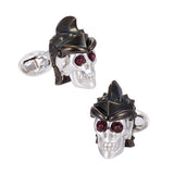 Sterling Silver Skull Trojan Cufflinks by Jan Leslie