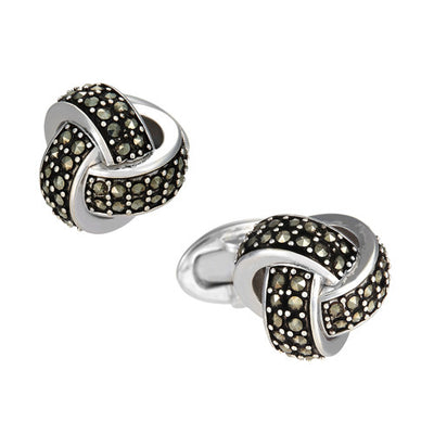 Marcasite Pave Knot Cufflinks - Jan Leslie Cufflinks and Accessories