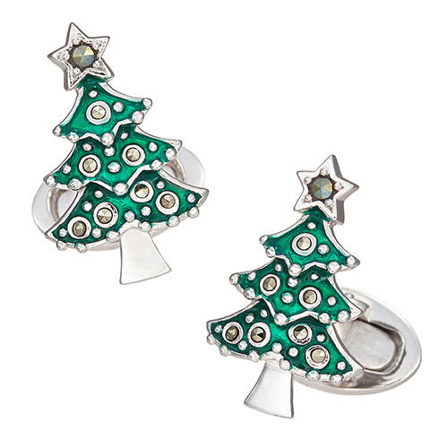 Christmas Tree Cufflinks in Enamel and Marcasite - Jan Leslie Cufflinks and Accessories
