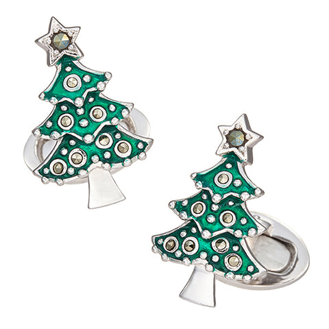 Christmas Tree Cufflinks in Enamel and Marcasite