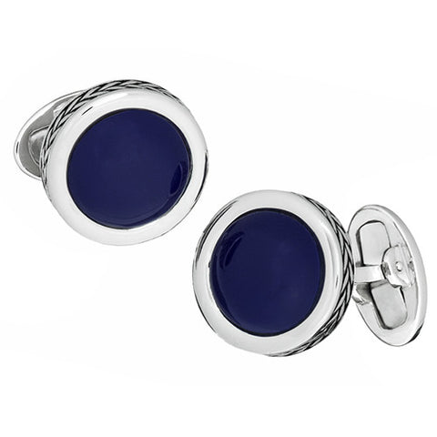 Round Silver and Gemstone Cufflinks with Braided Rims