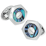 Jan Leslie White Abalone Hexagon Cufflinks