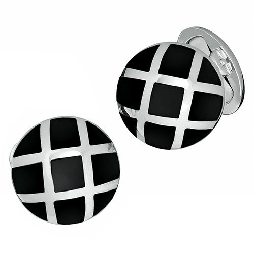 Mother of Pearl Cufflinks with Silver Caging