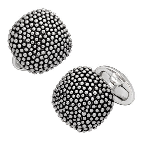 Soft Square Domed Silver Cufflinks with Granulation - Jan Leslie Cufflinks and Accessories