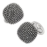 Soft Square Domed Silver Cufflinks with Granulation