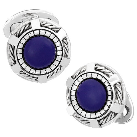 Rope Wheel Gemstone Gothic Cufflinks
