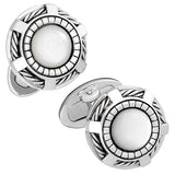 Rope Wheel Gothic Cufflinks by Jan Leslie in White Mother-of-Pearl