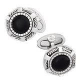 Rope Wheel Gothic Cufflinks by Jan Leslie in Black Onyx
