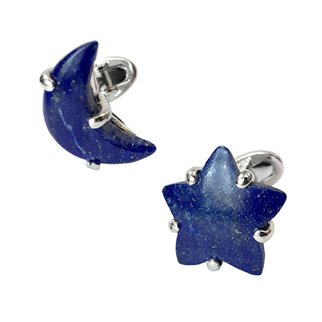 Lapis Lazuli Moon and Star Cufflinks - Jan Leslie Cufflinks and Accessories