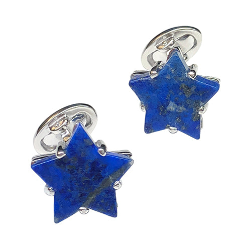 Lapis Lazuli Star Sterling Silver Cufflinks - Jan Leslie Cufflinks and Accessories
