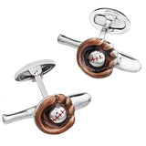 Baseball and Baseball Glove Cufflinks by Jan Leslie