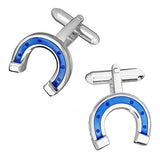 Blue Horseshoe Enamel Cufflinks by Jan Leslie