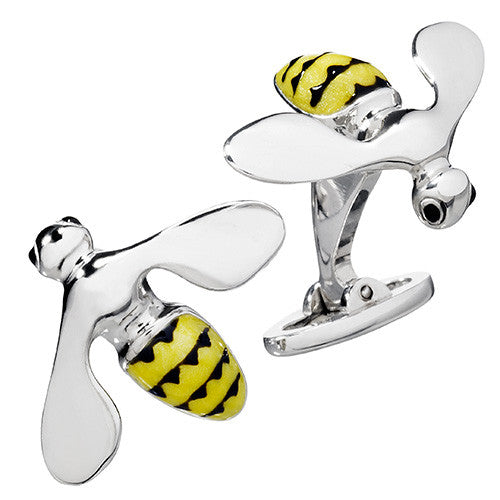 Yellow Triumphant Bee Cufflinks by Jan Leslie