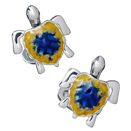 Enamel Moving Sea Turtle Cufflinks - Jan Leslie Cufflinks and Accessories