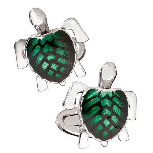 Blue and Yellow Enamel Moving Sea Turtle Cufflinks by Jan Leslie