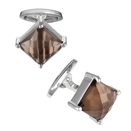 Square Smoky Faceted Topaz Cufflinks - Jan Leslie Cufflinks and Accessories