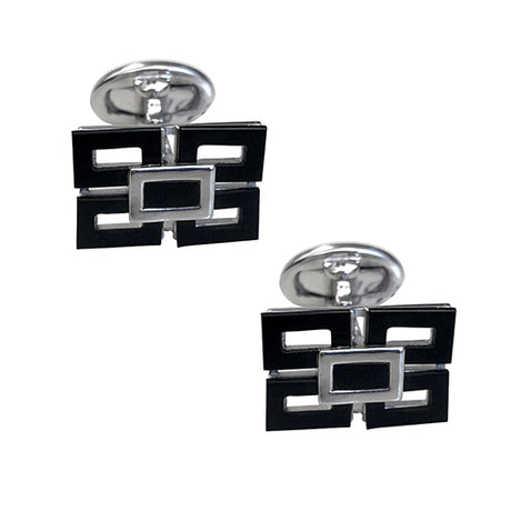 Four Pane Rectangular Cufflinks with Gemstone Centers - Jan Leslie Cufflinks and Accessories