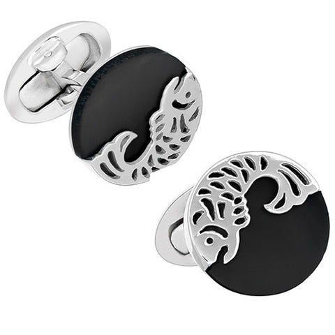 Gemstone Button Cufflinks with Laser Cut Koi Fish