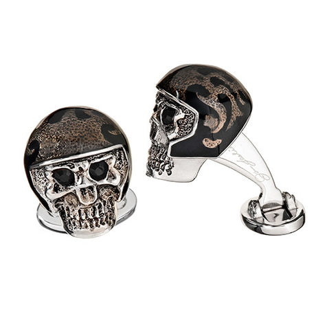 Enameled Skull Cufflinks - Jan Leslie Cufflinks and Accessories