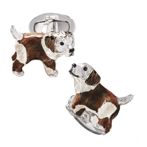 Enamel Puppy Dog Cufflinks with Crystal Eyes